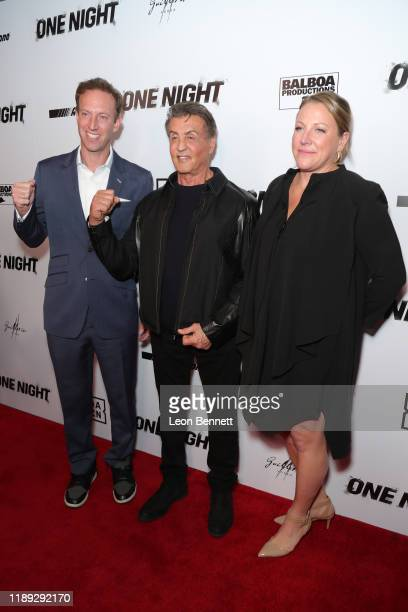 Jamie Horowitz Sylvester Stallone and Deirdre Fenton attend Premiere Of One Night Joshua Vs Ruiz at Writers Guild Theater on November 21 2019 in...