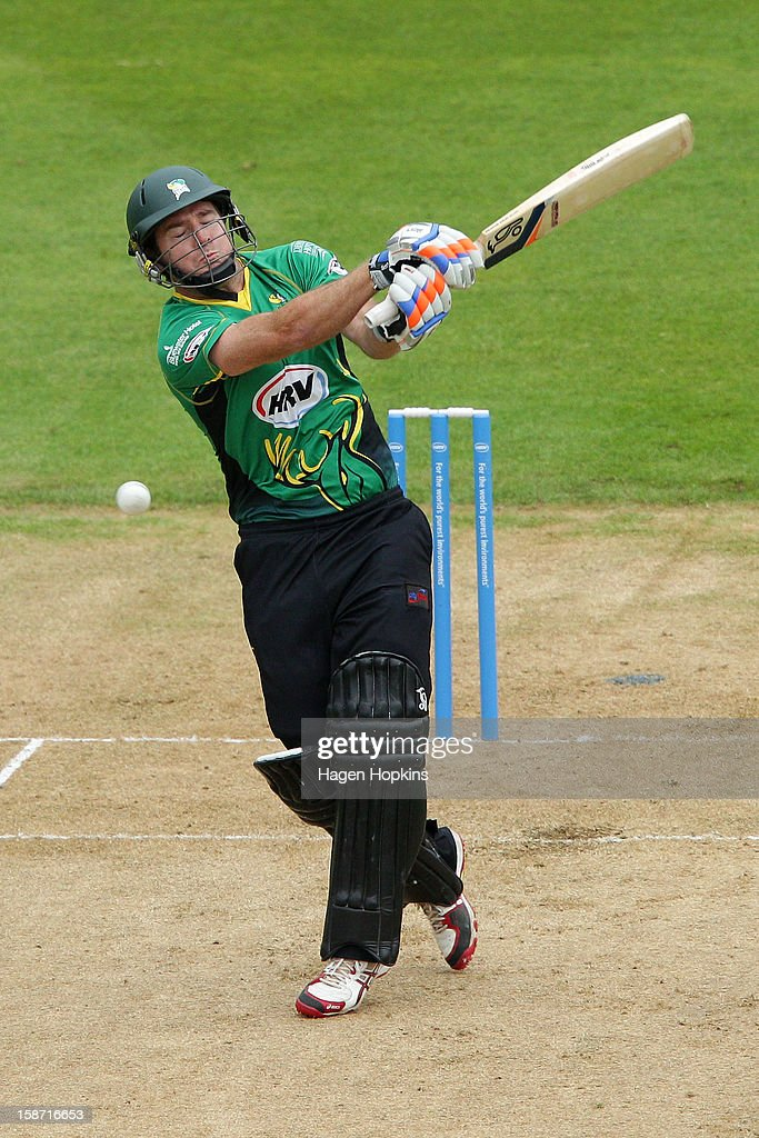 Jamie How of Central Districts bats during the Twenty20 match between Wellington Firebirds and Central Stags at Hawkins Basin Reserve on December 26, 2012 in Wellington, New Zealand.