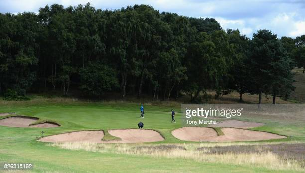Jamie Howarth of Davenport Golf Club and Matthew Fieldsend of Drayton Park Golf Club on the 2nd green during Day Three of the Galvin Green PGA...