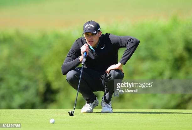 Jamie Howarth of Davenport Golf Club lines up his putt on the 17th green during Day Three of the Galvin Green PGA Assistants' Championship at Coxmoor...