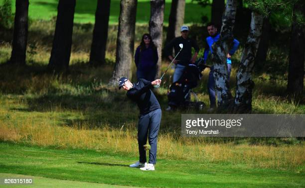 Jamie Howarth of Davenport Golf Club plays his second shot on the 1st fairway during Day Three of the Galvin Green PGA Assistants' Championship at...