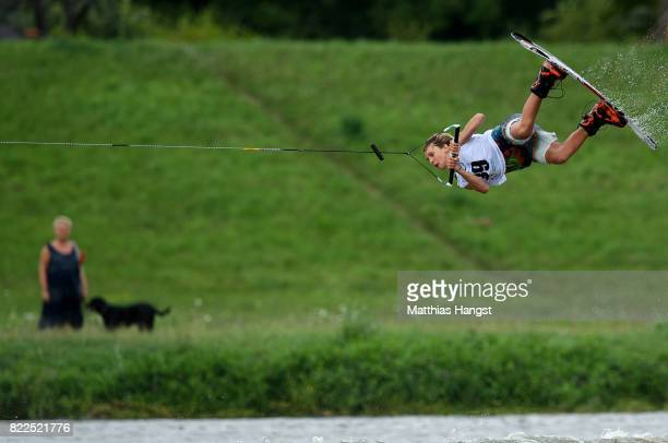 Jamie Huser of Switzerland competes during the Wakeboard Freestyle Men's Quarterfinal of The World Games at Old Odra River on July 25 2017 in Wroclaw...