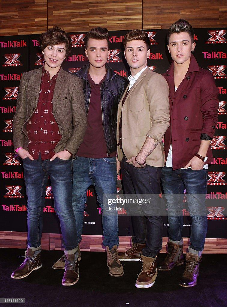 Jamie J Hamblett, Josh Cuthbert, Jaymi Hensley and George Shelley of Union J attend a photocall at the Talk Talk X Factor semi finalists gig on November 29, 2012 in London, England.