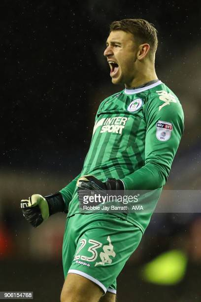 Jamie Jones of Wigan Athletic celebrates during The Emirates FA Cup Third Round Replay between Wigan Athletic v AFC Bournemouth at DW Stadium on...