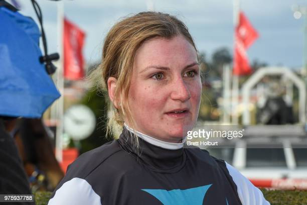 Jamie Kah after winning the Epi Café Plate at Moonee Valley Racecourse on June 16 2018 in Moonee Ponds Australia