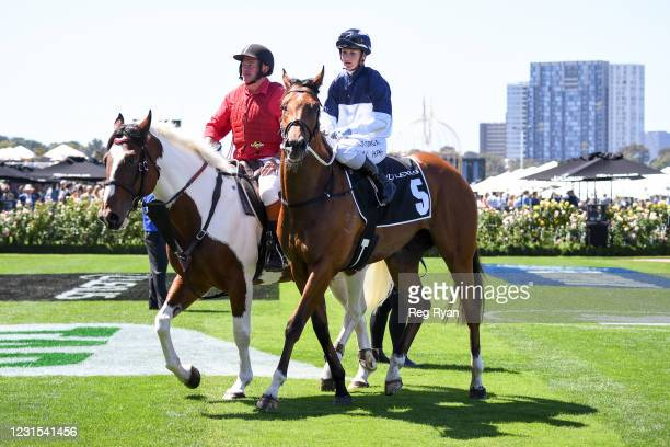 Jamie Kah returns to the mounting yard aboard Cumberbatch after winning the 2021 Lexus Melbourne Cup Tour at Flemington Racecourse on March 06, 2021...