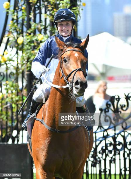 Jamie Kah riding Cumberbatch after winning Race 2, the 2021 Lexus Melbourne Cup Tour, during Melbourne Racing at Flemington Racecourse on March 06,...