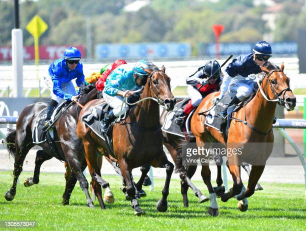 Jamie Kah riding Cumberbatch winning Race 2, the 2021 Lexus Melbourne Cup Tour, during Melbourne Racing at Flemington Racecourse on March 06, 2021 in...