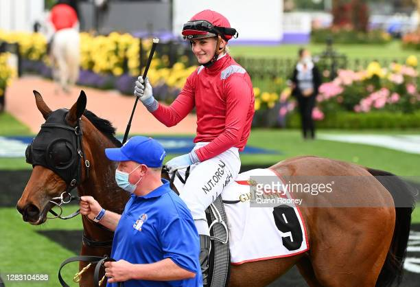 Jamie Kah riding Victoria Quay returns to scale after winning Race 2 the G. H Mumm Wakeful Stakes during 2020 AAMI Victoria Derby Day at Flemington...