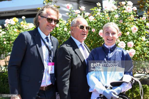 Jamie Kah with connections after winning the 2021 Lexus Melbourne Cup Tour aboard Cumberbatch at Flemington Racecourse on March 06, 2021 in...
