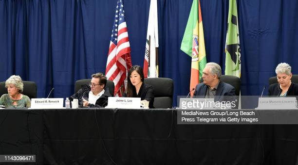 Jamie L Lee president LA Harbor Commission reads a letter from Mayor Eric Garcetti during a meeting in San Pedro on Tuesday April 16 2019 The...