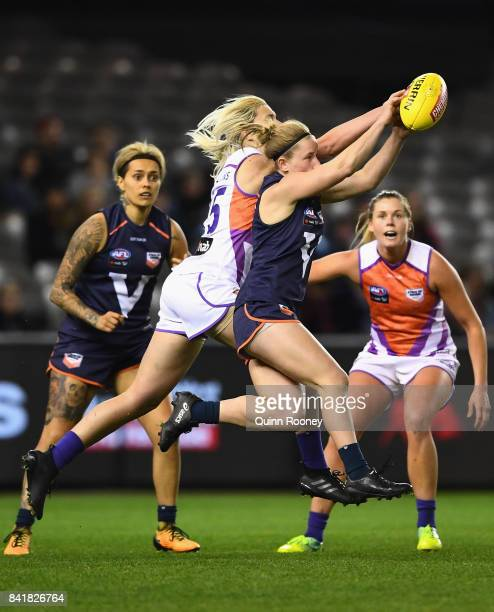 Jamie Lambert of Victoria marks during the AFL Women's State of Origin match between Victoria and the Allies at Etihad Stadium on September 2 2017 in...