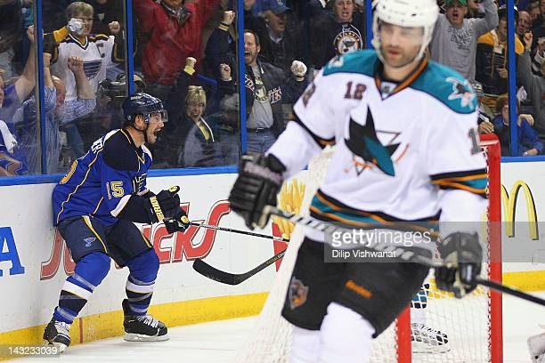 Jamie Langenbrunner of the St Louis Blues celebrates his gametying goal against the San Jose Sharks during Game Five of the Western Conference...
