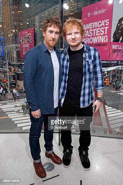 "Jamie Lawson and Ed Sheeran visit ""Extra"" at their New York studios at H&M in Times Square on September 29, 2015 in New York City."