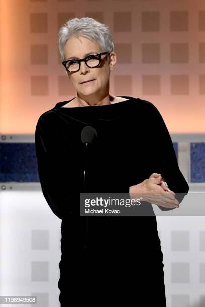 Jamie Lee Curtis accepts Best Ensemble for 'Knives Out' onstage during AARP The Magazine's 19th Annual Movies For Grownups Awards at Beverly Wilshire...
