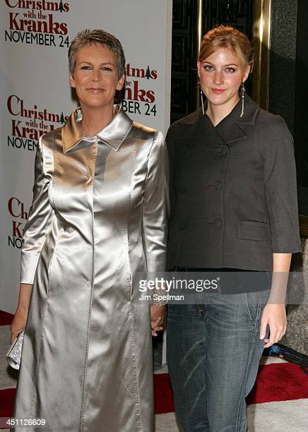 Jamie Lee Curtis and daughter during Christmas with The Kranks New York City Premiere Outside Arrivals at Radio City Music Hall in New York City New...