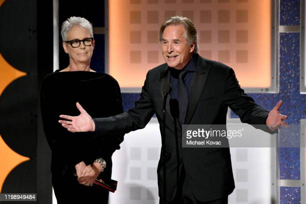 Jamie Lee Curtis and Don Johnson accept Best Ensemble for 'Knives Out' onstage during AARP The Magazine's 19th Annual Movies For Grownups Awards at...