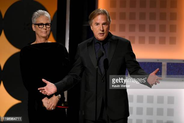 Jamie Lee Curtis and Don Johnson speak onstage during AARP The Magazine's 19th Annual Movies For Grownups Awards at Beverly Wilshire A Four Seasons...