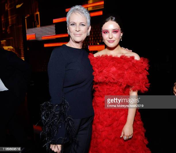 Jamie Lee Curtis and Katherine Langford attend the 2019 American Music Awards at Microsoft Theater on November 24 2019 in Los Angeles California