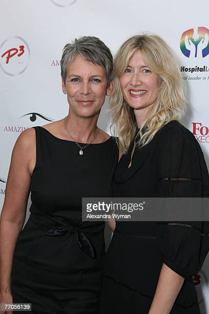 Jamie Lee Curtis and Laura Dern enjoy the day at the P3 and Forbeslife executive women's day of beauty for mother's of patients of Children's...