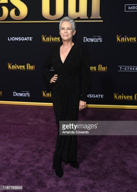 Jamie Lee Curtis arrives at the premiere of Lionsgate's Knives Out at the Regency Village Theatre on November 14 2019 in Westwood California