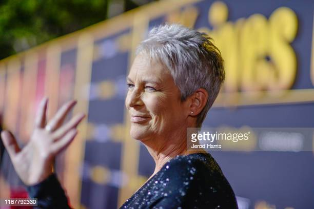 Jamie Lee Curtis arrives at the Premiere of Lionsgate's 'Knives Out' at Regency Village Theatre on November 14 2019 in Westwood California
