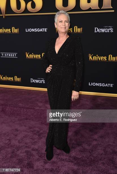 Jamie Lee Curtis attends the premiere of Lionsgate's Knives Out at Regency Village Theatre on November 14 2019 in Westwood California