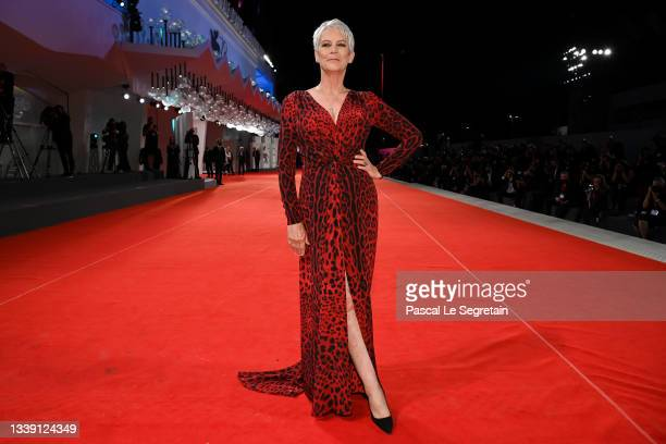 """Jamie Lee Curtis attends the red carpet of the movie """"Halloween Kills"""" during the 78th Venice International Film Festival on September 08, 2021 in..."""
