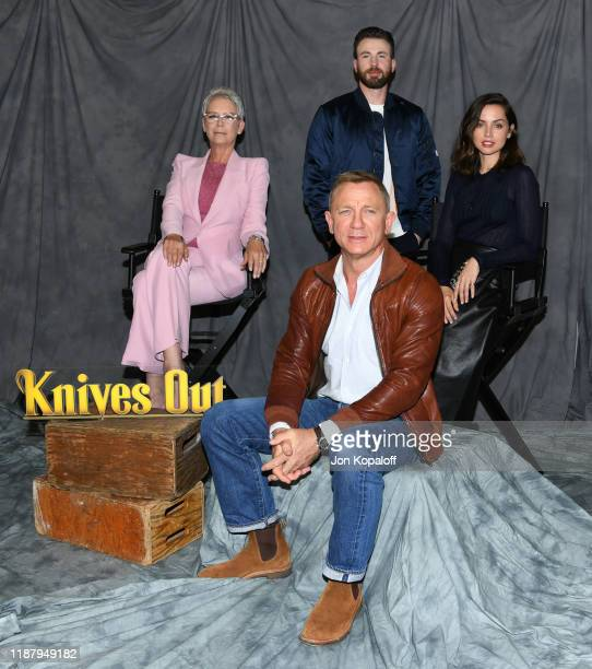 "Jamie Lee Curtis, Daniel Craig, Chris Evans and Ana de Armas attend the photocall for Lionsgate's ""Knives Out"" at Four Seasons Hotel Los Angeles at..."