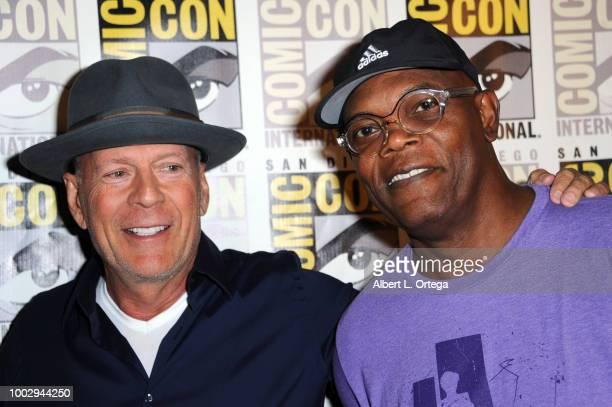Jamie Lee Curtis David Gordon Green Malek Akkad and Jason Blum speak onstage at Universal Pictures' 'Glass' and 'Halloween' panels during ComicCon...