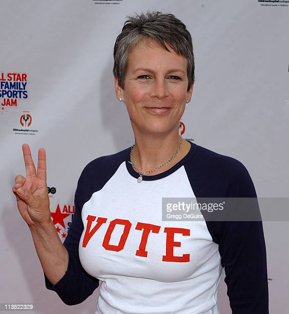 Jamie Lee Curtis during 1st Annual HBO AllStar Family Sports Jam at Barker Hanger in Santa Monica California United States