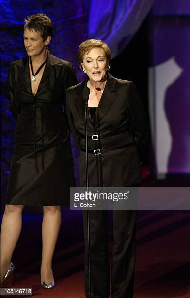 Jamie Lee Curtis Julie Andrews during 2003 Women In Film Crystal Lucy Awards Show at Century Plaza Hotel in Los Angeles California United States