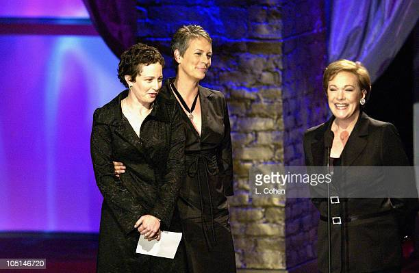 Jamie Lee Curtis Julie Andrews Nina Jacobson during 2003 Women In Film Crystal Lucy Awards Show at Century Plaza Hotel in Los Angeles California...