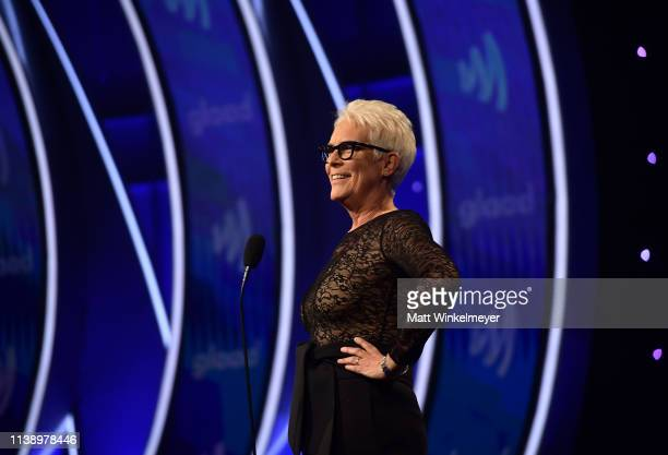 Jamie Lee Curtis speaks onstage during the 30th Annual GLAAD Media Awards Los Angeles at The Beverly Hilton Hotel on March 28 2019 in Beverly Hills...