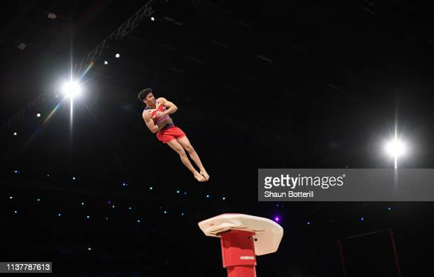 Jamie Lewis of Great Britain competes on the vault during the 2019 Gymnastics World Cup at the at Resorts World Arena on March 23 2019 in Birmingham...
