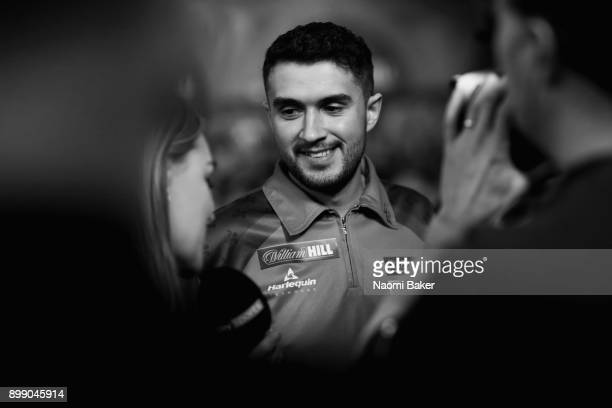 Jamie Lewis of Wales speaks to Sky Sports after winning the second round match against Peter Wright of England on day eleven of the 2018 William Hill...