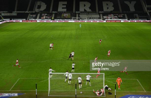 Jamie Lindsay of Rotherham United celebrates after scoring his team's first goal during the Sky Bet Championship match between Derby County and...