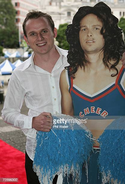 Jamie Linehan from the TV show Bill and Ben holds a cutout of his absent costar as he arrives at the Qantas Television Awards at the Aotea Centre on...