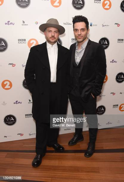 Jamie Lloyd and Fabian Aloise attend The WhatsOnStage Awards 2020 at The Prince of Wales Theatre on March 1 2020 in London England