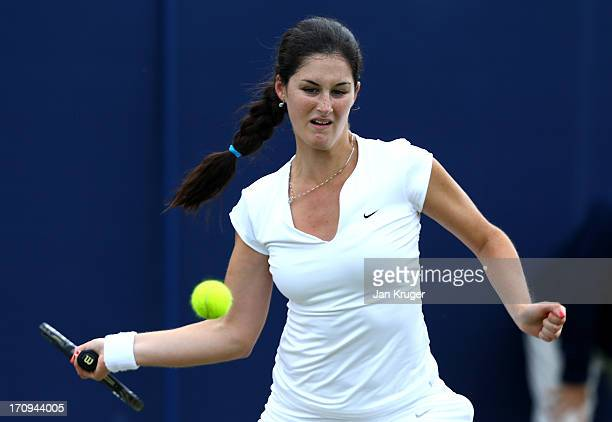 Jamie Loeb of the USA in action against Gabriella Taylor of Great Britain during the Maureen Connolly Trophy at Devonshire Park on June 20 2013 in...