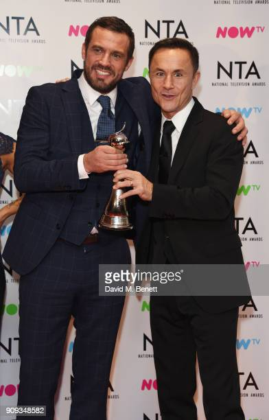 Jamie Lomas and Dennis Wise accepting the Challenge Show award for 'I'm A CelebrityGet Me Out Of Here' at the National Television Awards 2018 at The...