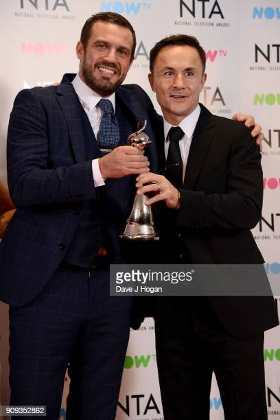 Jamie Lomas and Dennis Wise from I'm A Celebrity Get Me Out Of Here with the award for Challenge Show at the National Television Awards 2018 at The...