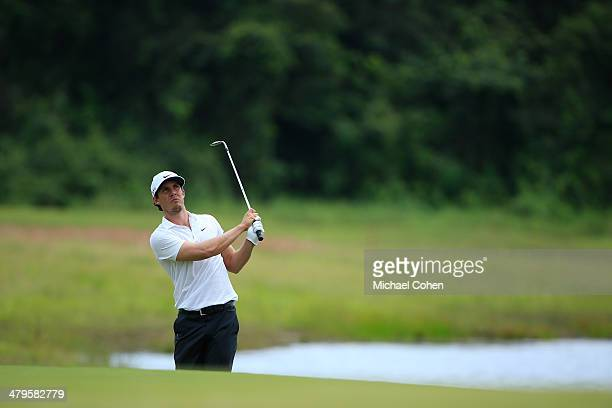 Jamie Lovemark hits a pitch shot during the third round of the Puerto Rico Open presented by seepuertoricocom held at Trump International Golf Club...