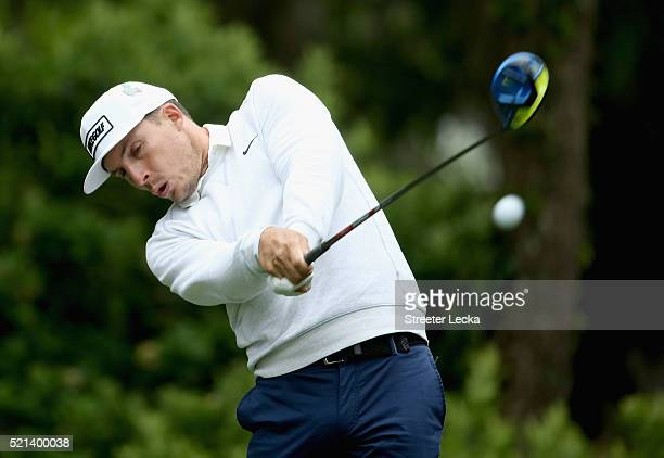 Jamie Lovemark hits a tee shot on the eighth hole during the second round of the 2016 RBC Heritage at Harbour Town Golf Links on April 15 2016 in...
