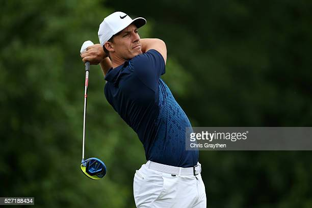 Jamie Lovemark hits his tee shot on the 8th hole during a continuation of the third round of the Zurich Classic at TPC Louisiana on May 2 2016 in...