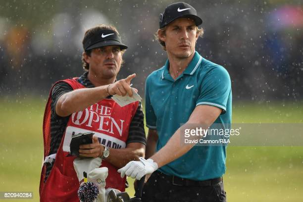 Jamie Lovemark of the United States and his caddie during the third round of the 146th Open Championship at Royal Birkdale on July 22 2017 in...