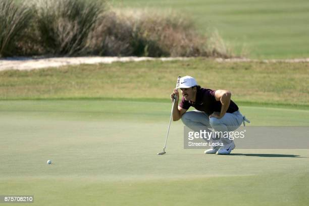 Jamie Lovemark of the United States lines up his putt on the sixth hole during the second round of The RSM Classic at Sea Island Golf Club Seaside...
