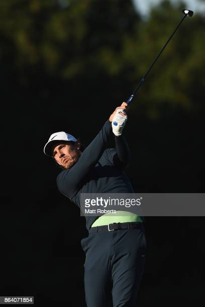 Jamie Lovemark of the United States plays his second shot on the 3rd hole during the third round of the CJ Cup at Nine Bridges on October 21 2017 in...