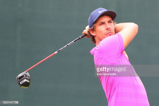 Jamie Lovemark of the United States plays his shot from the first tee during the third round of The Northern Trust on August 25, 2018 at the...