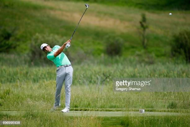 Jamie Lovemark of the United States plays his shot from the second tee during the third round of the 2017 US Open at Erin Hills on June 17 2017 in...